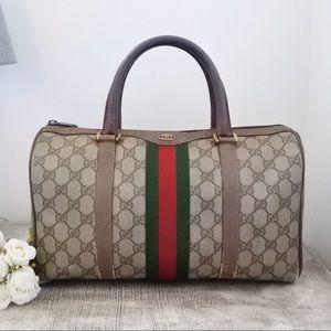 Gucci Boston Brown Web Satchel Handbag